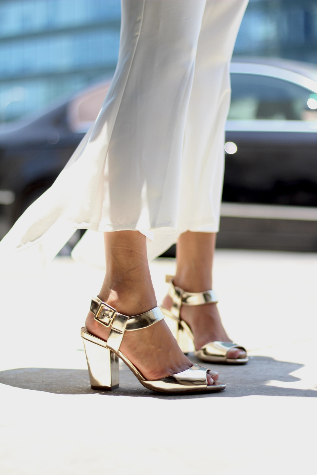 Schutz Chunky Gold Colored Sandals - Front Full Image