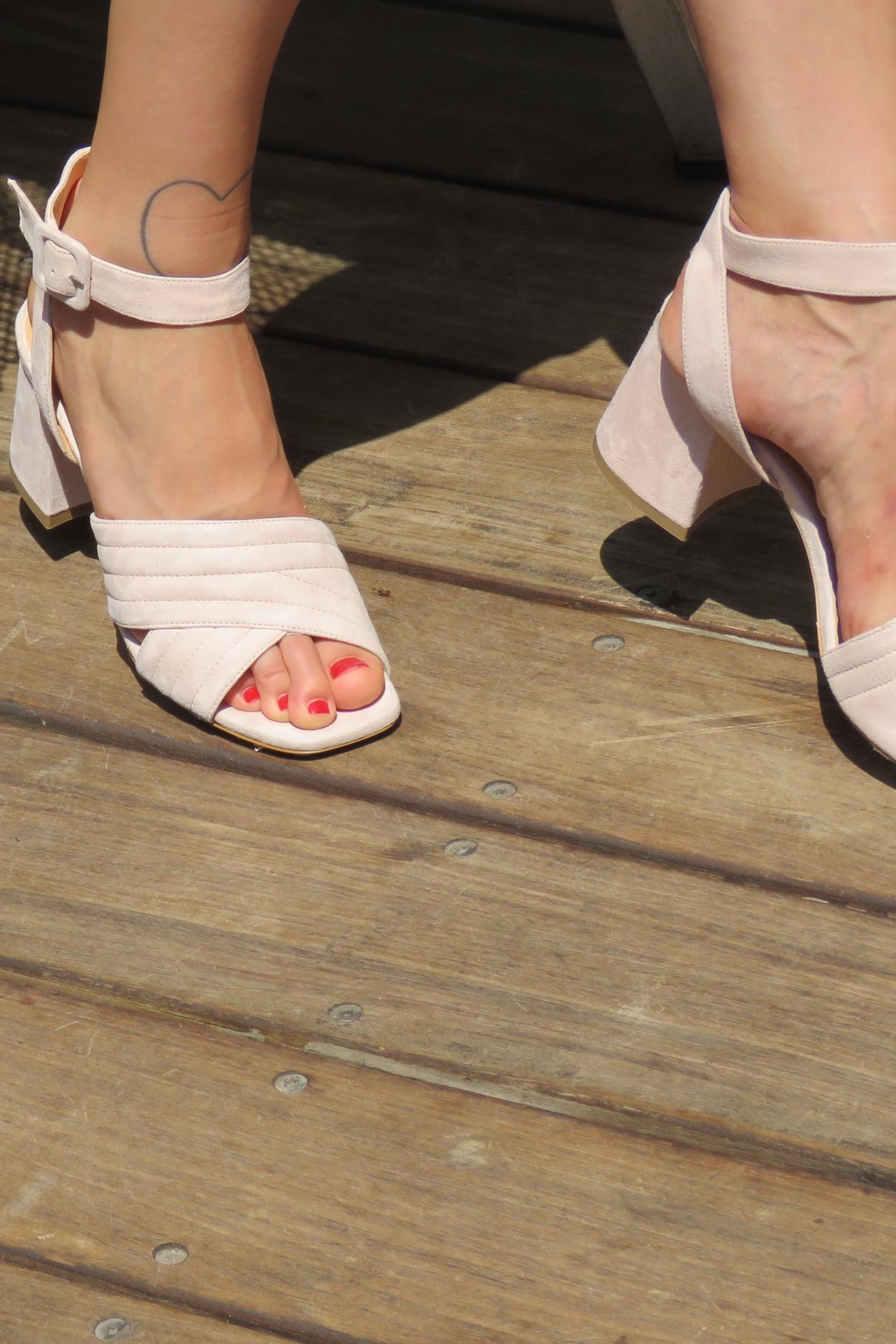 Schutz Nude Suede Sandals - Back Cropped Image