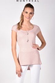 Frank Lyman  Scoop neck blush top with silver sparkles - Product Mini Image