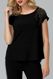 Joseph Ribkoff USA Inc. Scoop Neck Cap Sleeve Jeweled Top - Product Mini Image