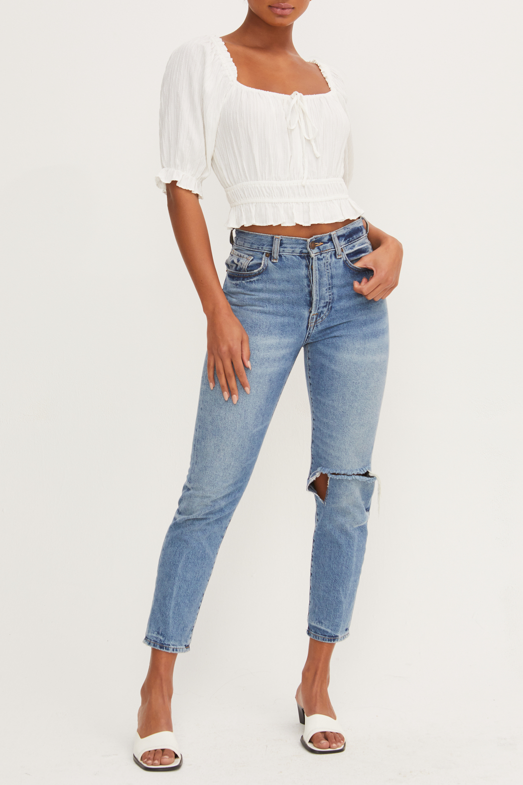 Lush  Scoop Neck Crop Top - Side Cropped Image