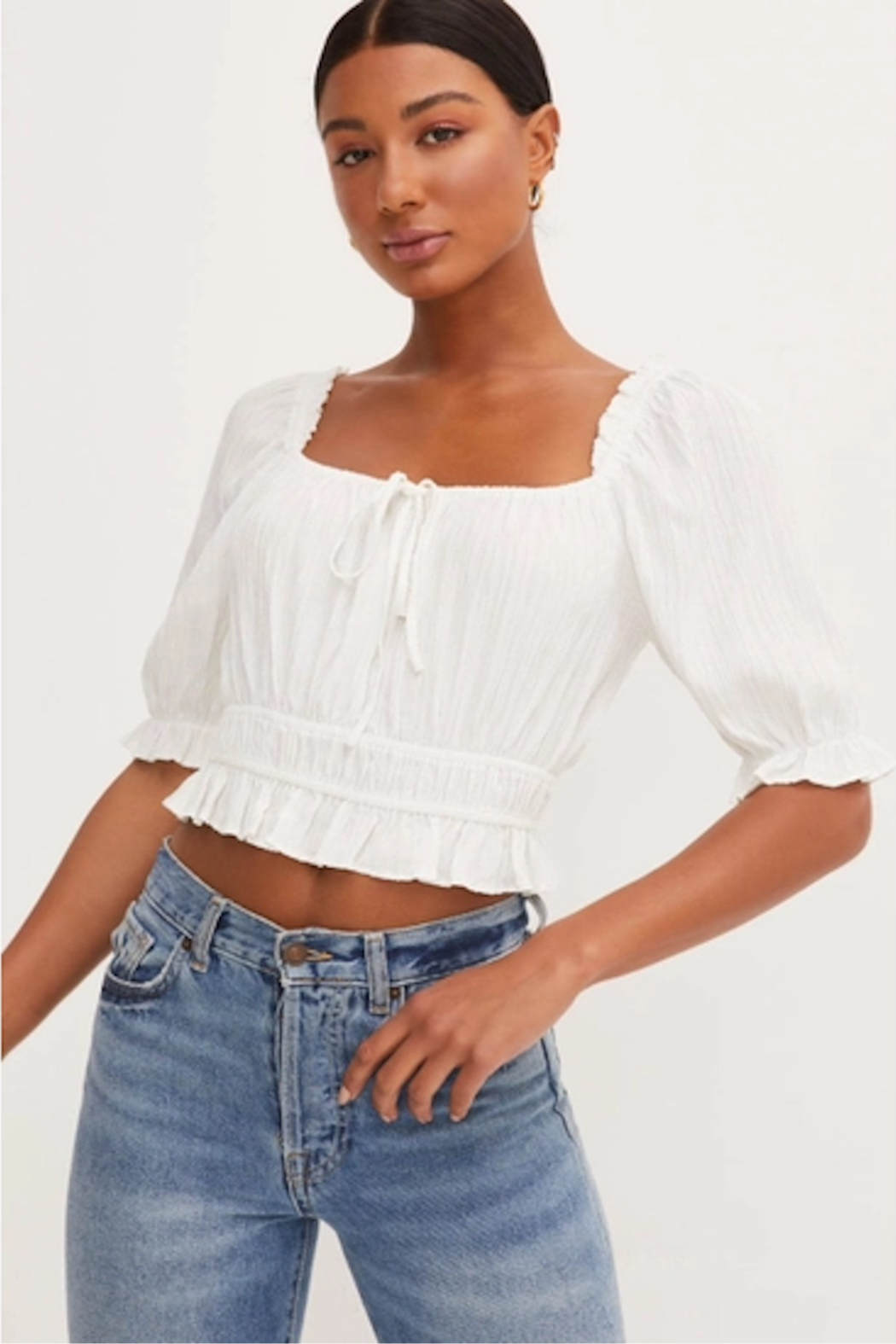 Lush  Scoop Neck Crop Top - Front Cropped Image