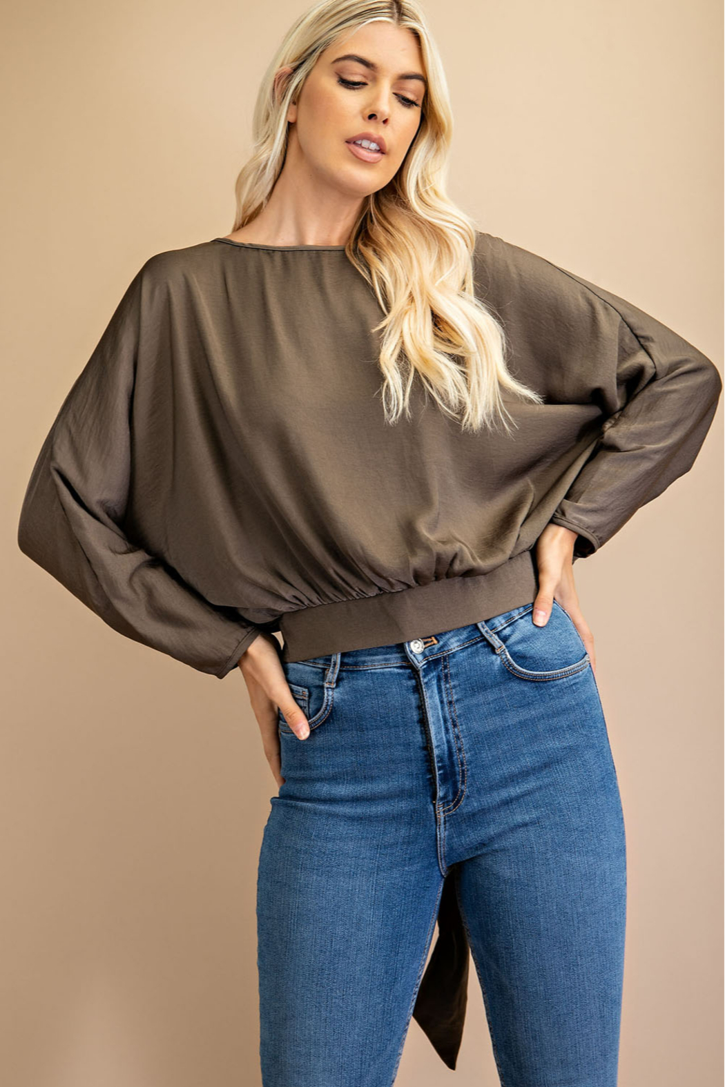 Glam Scoop Neck Dolman Sleeve Top - Front Cropped Image