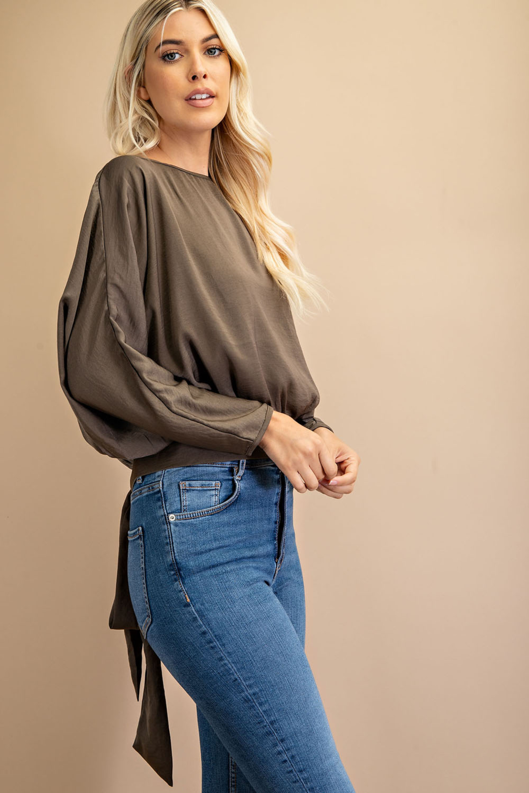 Glam Scoop Neck Dolman Sleeve Top - Front Full Image