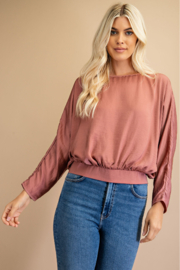 Glam Scoop Neck Dolman Sleeve Top - Front cropped