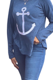 Lulu B Anchor Scoop Neck Embroidery Sweater - Product Mini Image