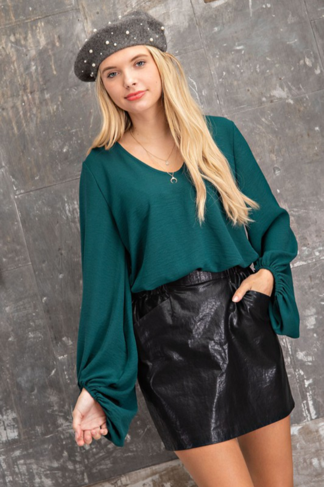 143 Story Scoop Neck  Hi- Low Long Sleeve Top - Front Full Image