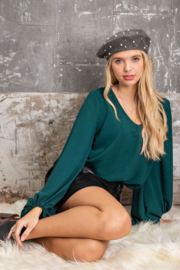 143 Story Scoop Neck  Hi- Low Long Sleeve Top - Front cropped