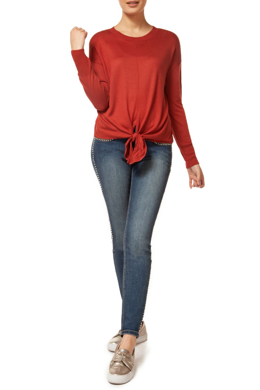 Dex Scoop Neck L/S Front Tie Sweater - Front Cropped Image