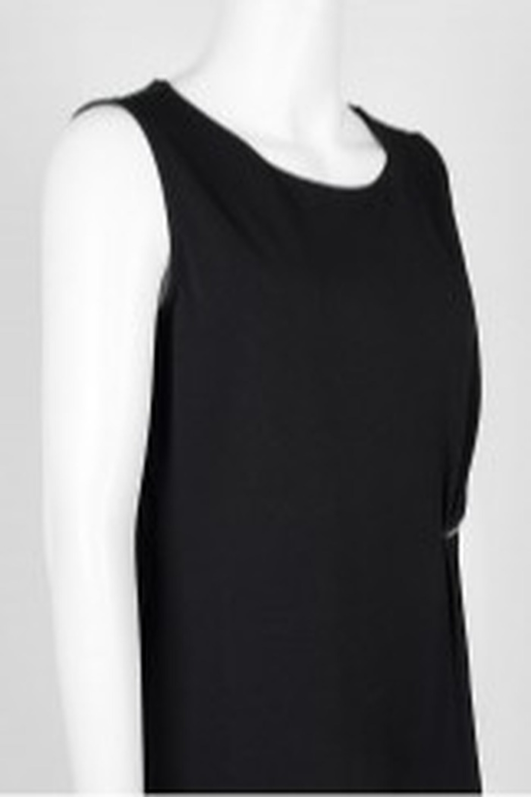 Carre Noir Scoop Neck Sleeveless Pleated Side Solid Jersey Top - Side Cropped Image