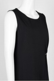Carre Noir Scoop Neck Sleeveless Pleated Side Solid Jersey Top - Side cropped