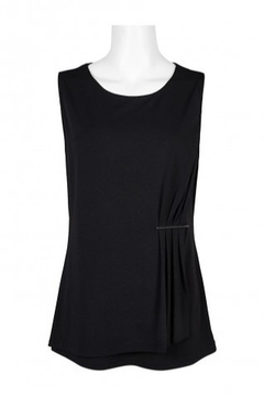 Carre Noir Scoop Neck Sleeveless Pleated Side Solid Jersey Top - Product List Image