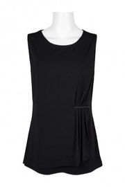 Carre Noir Scoop Neck Sleeveless Pleated Side Solid Jersey Top - Product Mini Image
