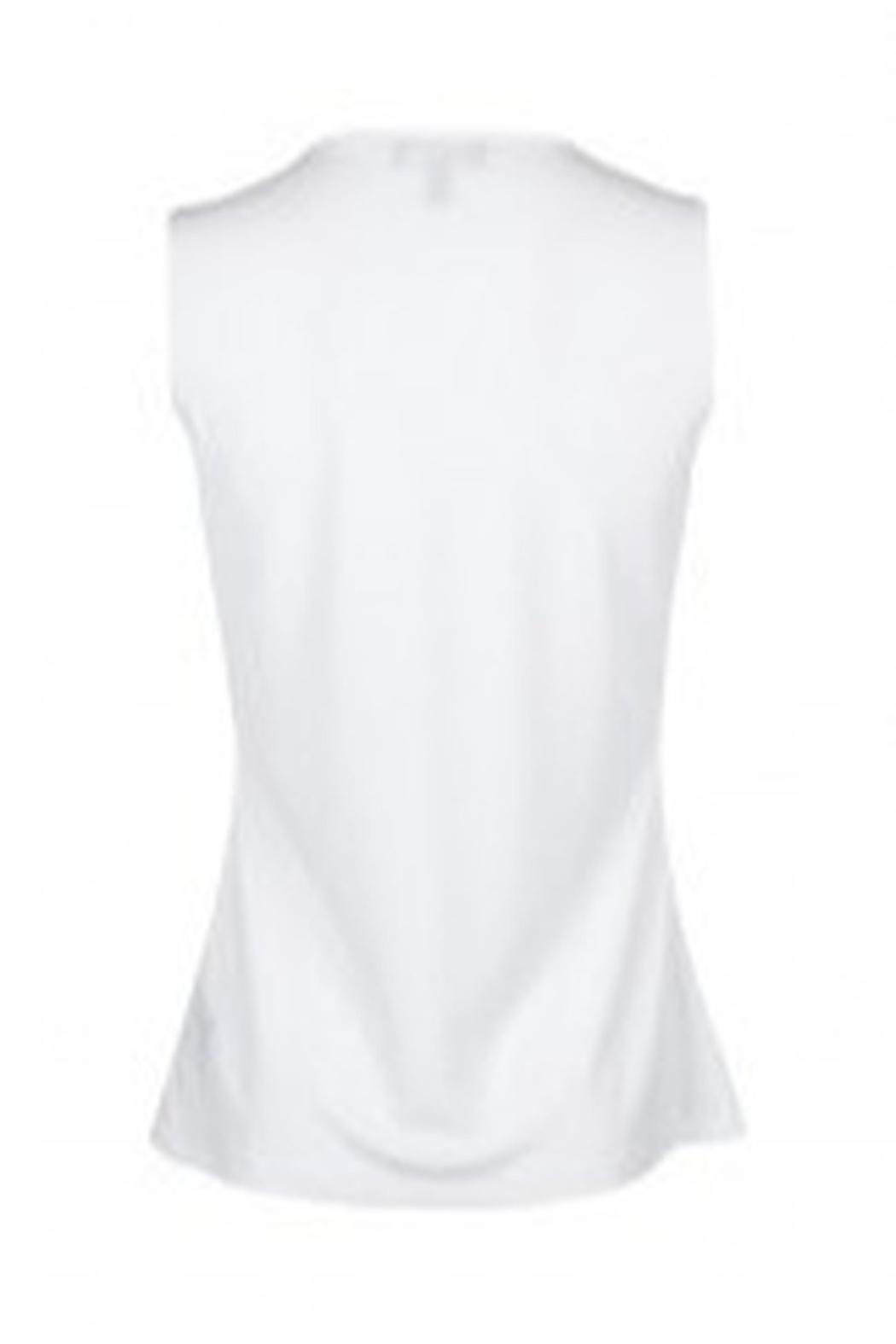 Carre Noir Scoop Neck Sleeveless Pleated Side Solid Jersey Top - Front Full Image