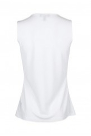 Carre Noir Scoop Neck Sleeveless Pleated Side Solid Jersey Top - Front full body