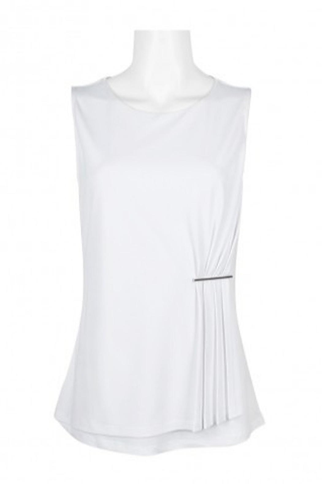 Carre Noir Scoop Neck Sleeveless Pleated Side Solid Jersey Top - Front Cropped Image