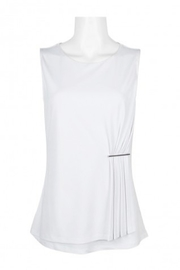 Carre Noir Scoop Neck Sleeveless Pleated Side Solid Jersey Top - Front cropped