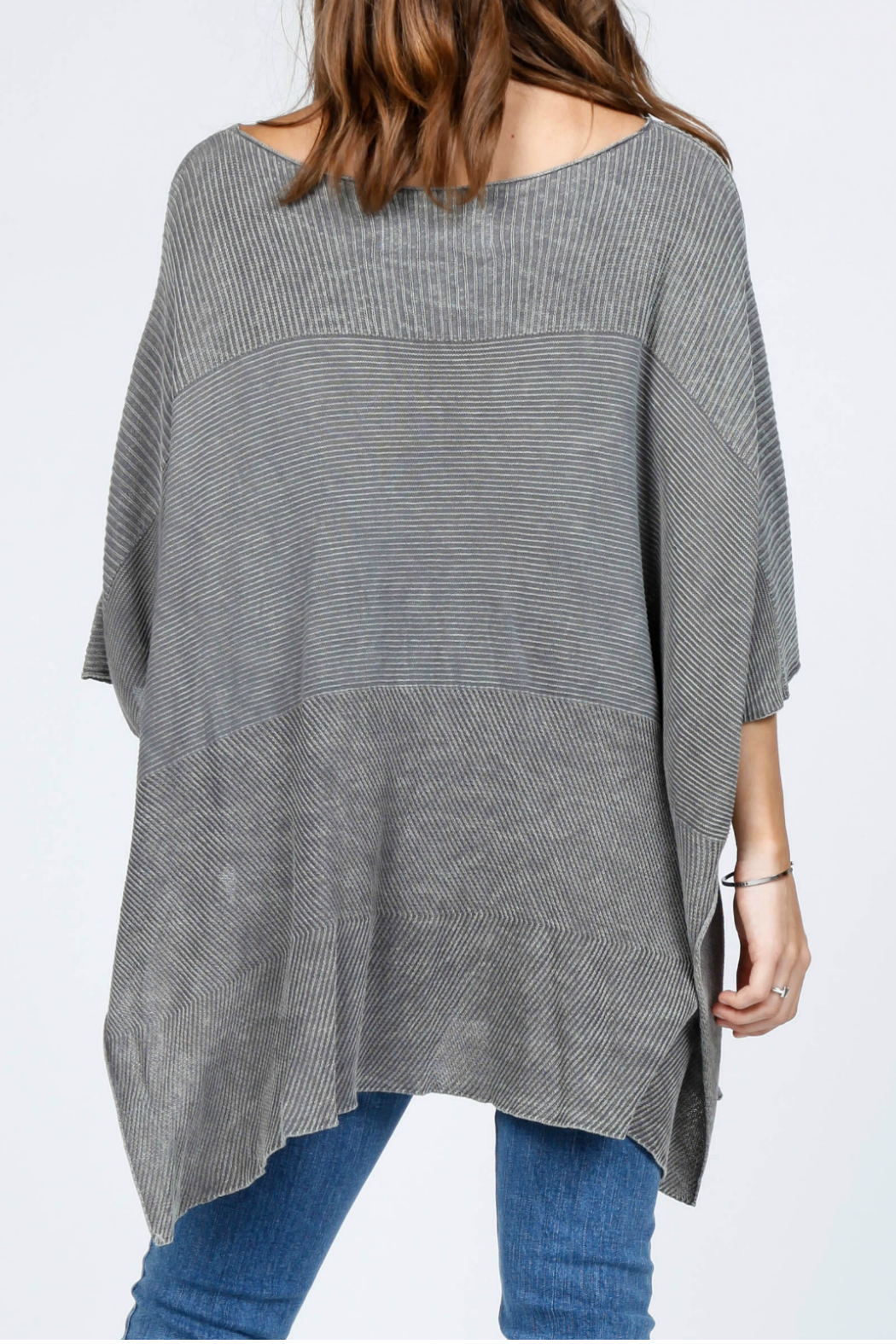 M-Rena  Scoop neck sweater poncho - Front Full Image
