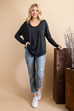 143 Story Scoop Neck Top with Chest Pocket - Product List Image
