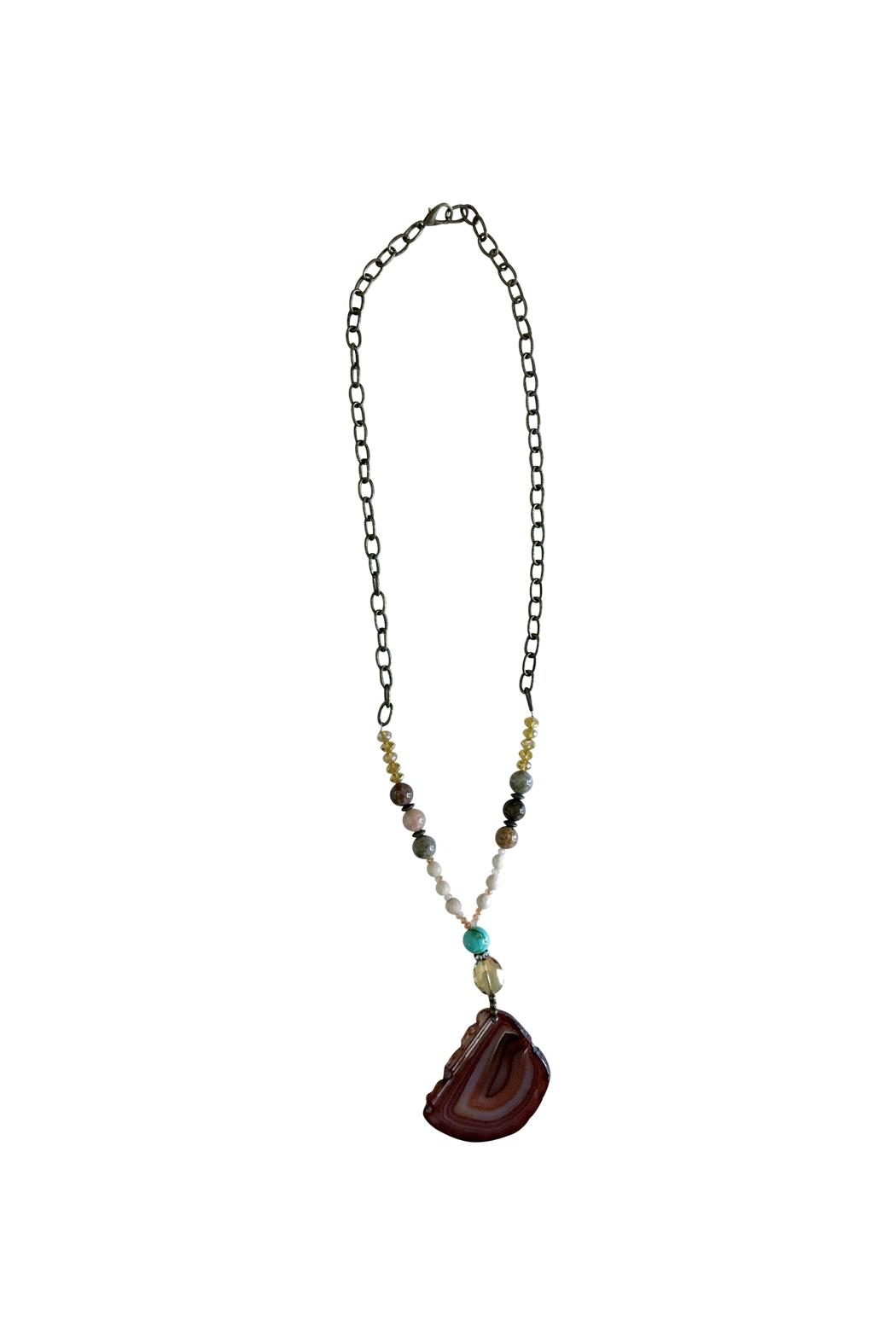 Scooples Natural Agate Necklace - Front Cropped Image