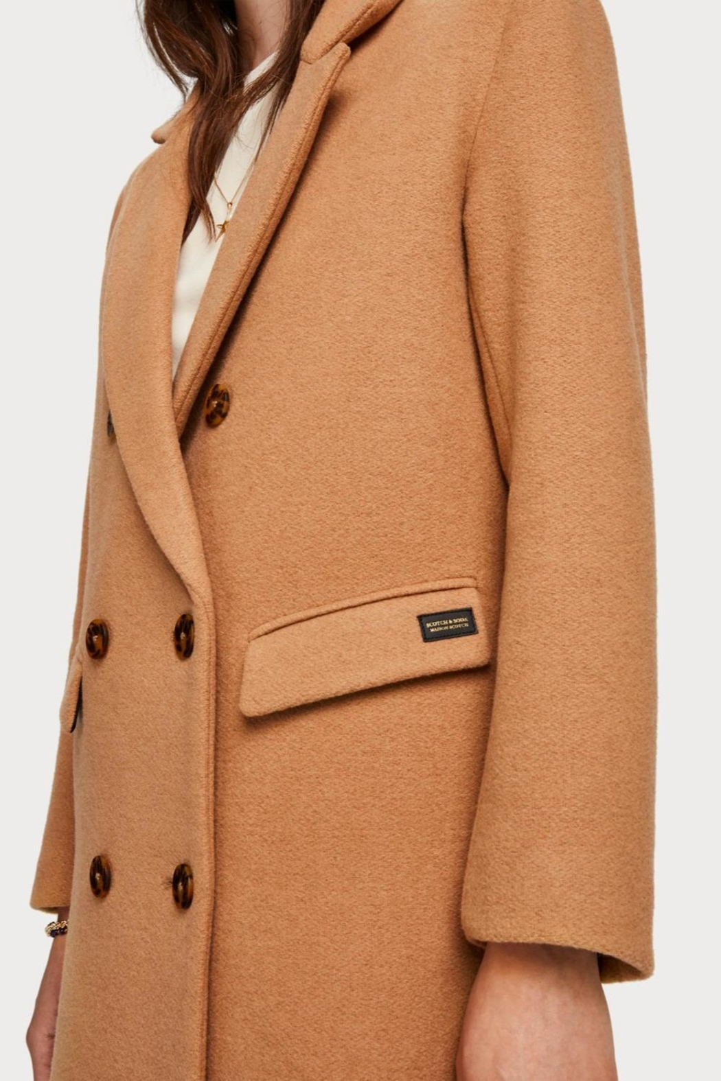 Scotch % Soda Long Wool Coat - Side Cropped Image