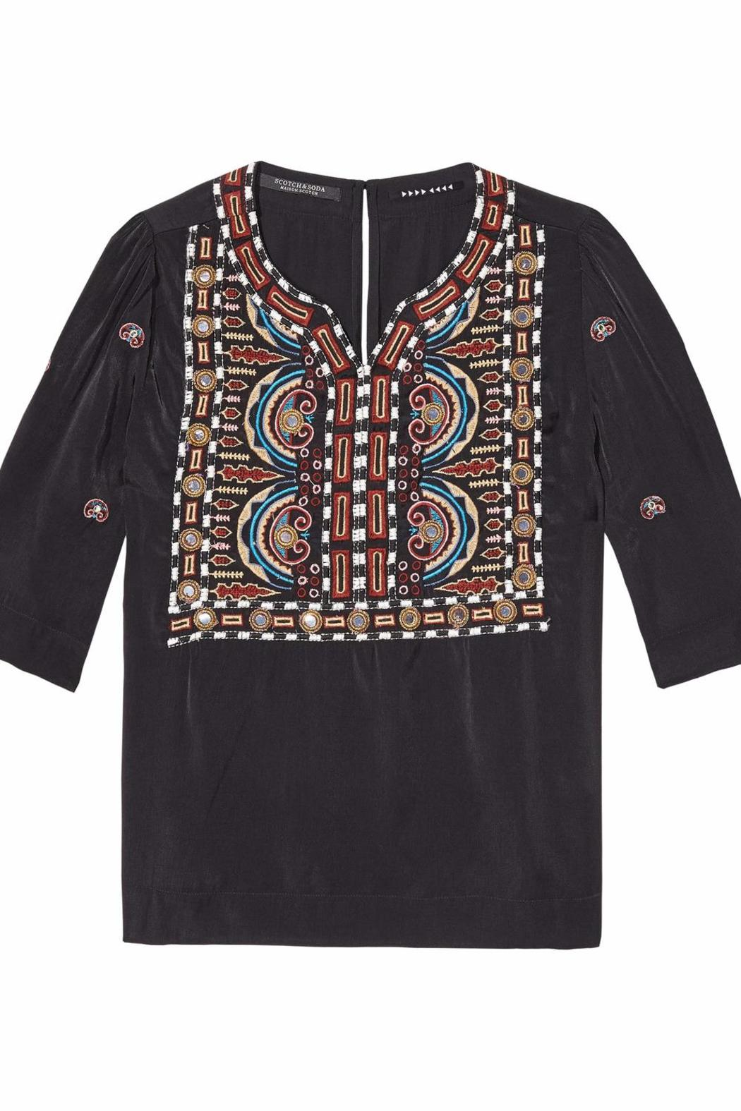 Scotch and Soda Boho Embroidered Top - Front Full Image