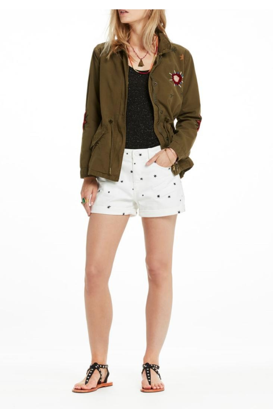 Scotch and Soda Embroidered Military Jacket - Back Cropped Image