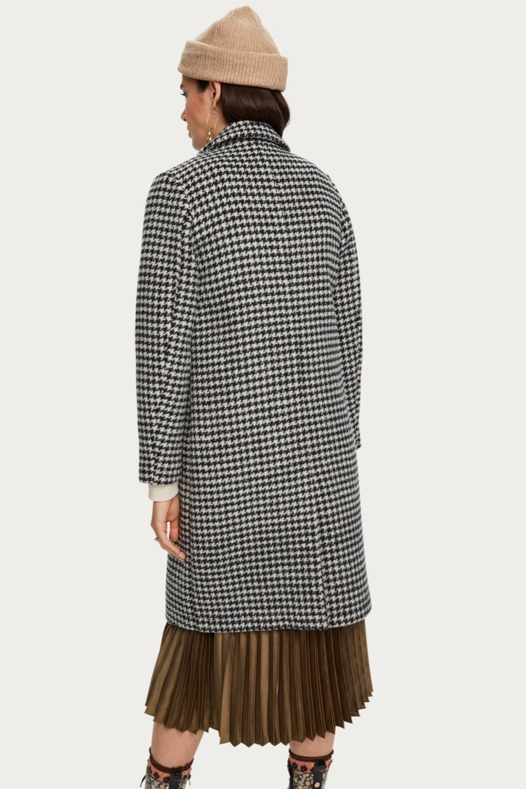 Scotch and Soda Houndstooth Wool Coat - Front Full Image