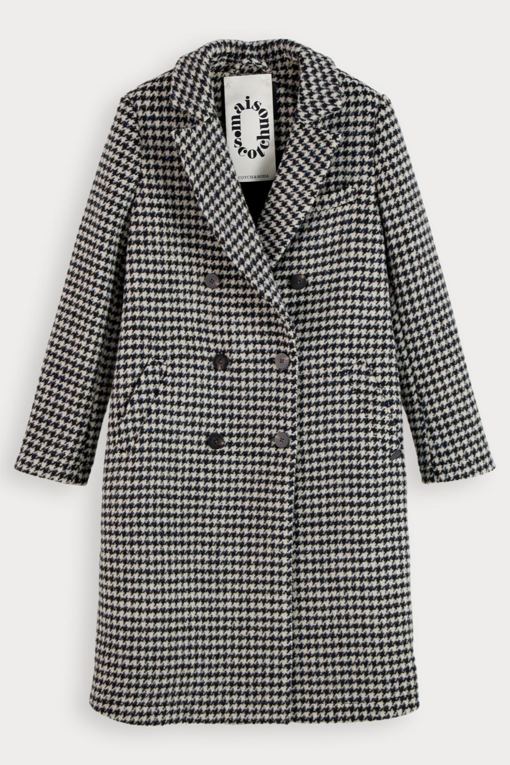 Scotch and Soda Houndstooth Wool Coat - Back Cropped Image