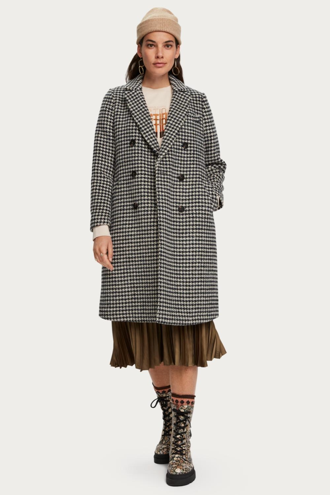 Scotch and Soda Houndstooth Wool Coat - Side Cropped Image