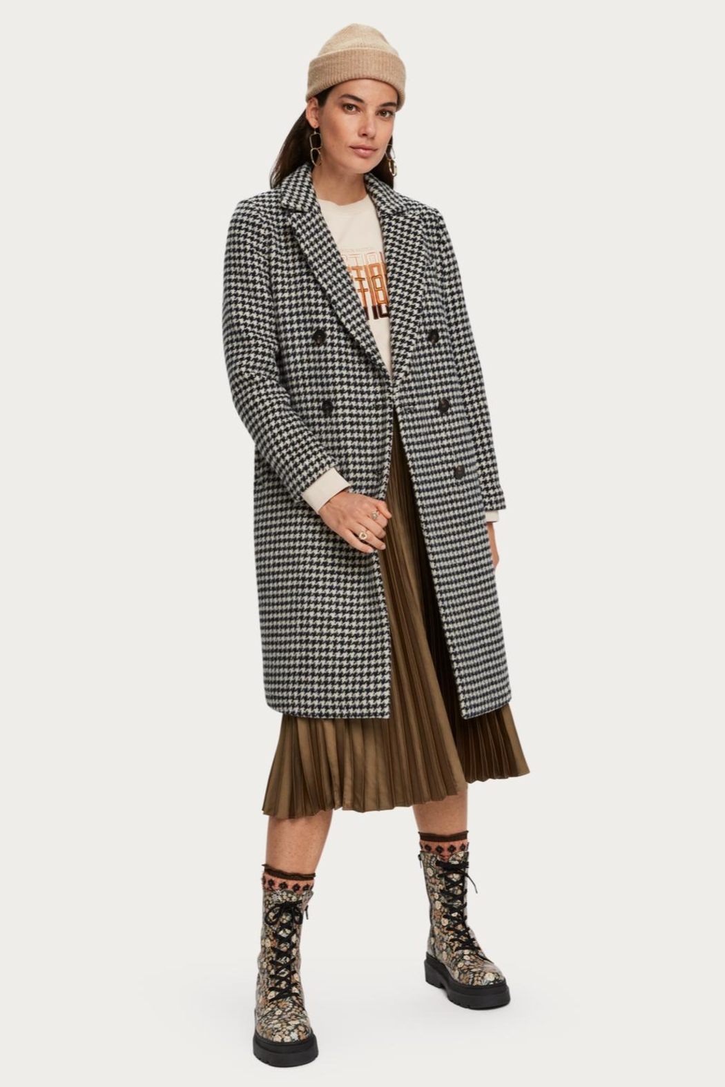 Scotch and Soda Houndstooth Wool Coat - Main Image