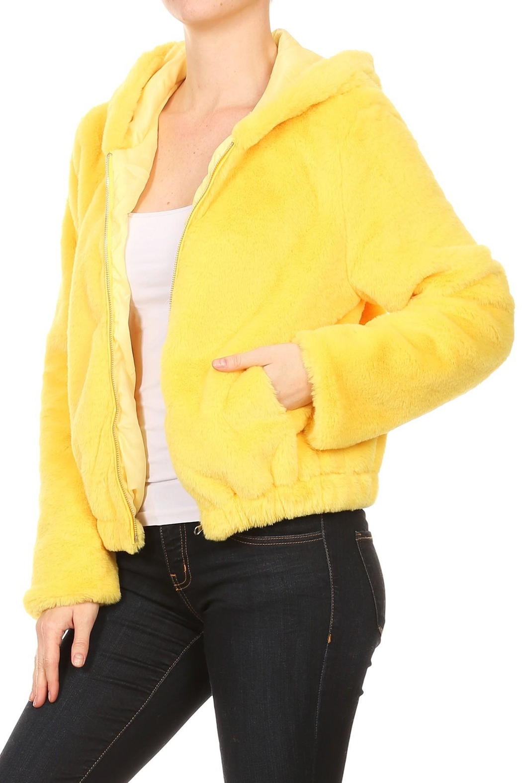 Scout Clothing & Decor Yellow Fur Bomber - Front Full Image