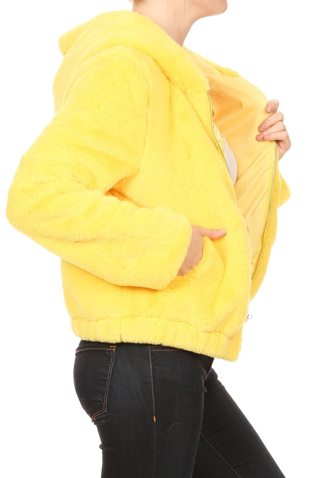 Scout Clothing & Decor Yellow Fur Bomber - Back Cropped Image