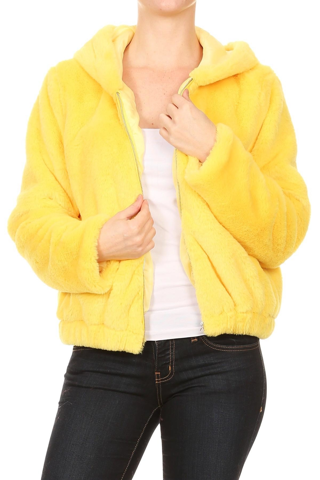 Scout Clothing & Decor Yellow Fur Bomber - Main Image