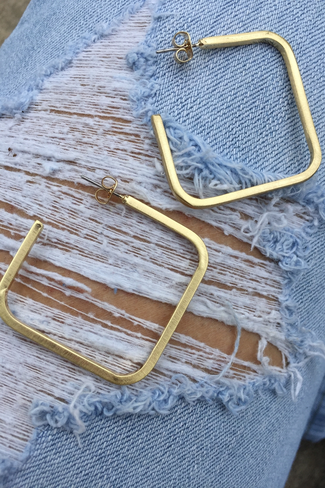 Golden Stella  Scratched Square Open Hoops - Main Image