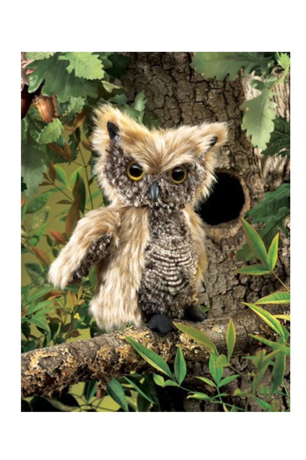 Folkmanis Screech Owl Hand Puppet - Back Cropped Image
