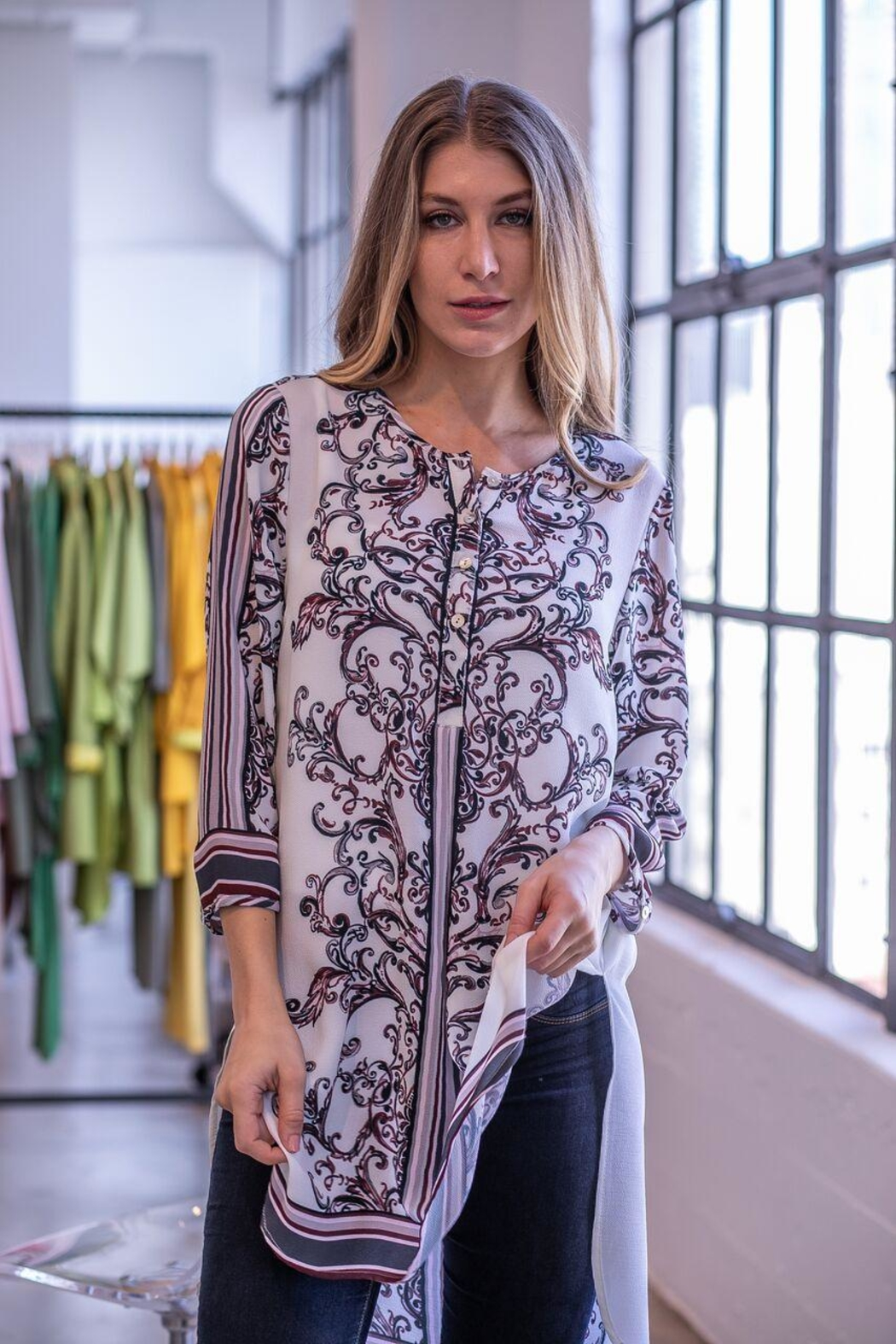 Olive Hill Scroll Henley Tunic - Main Image