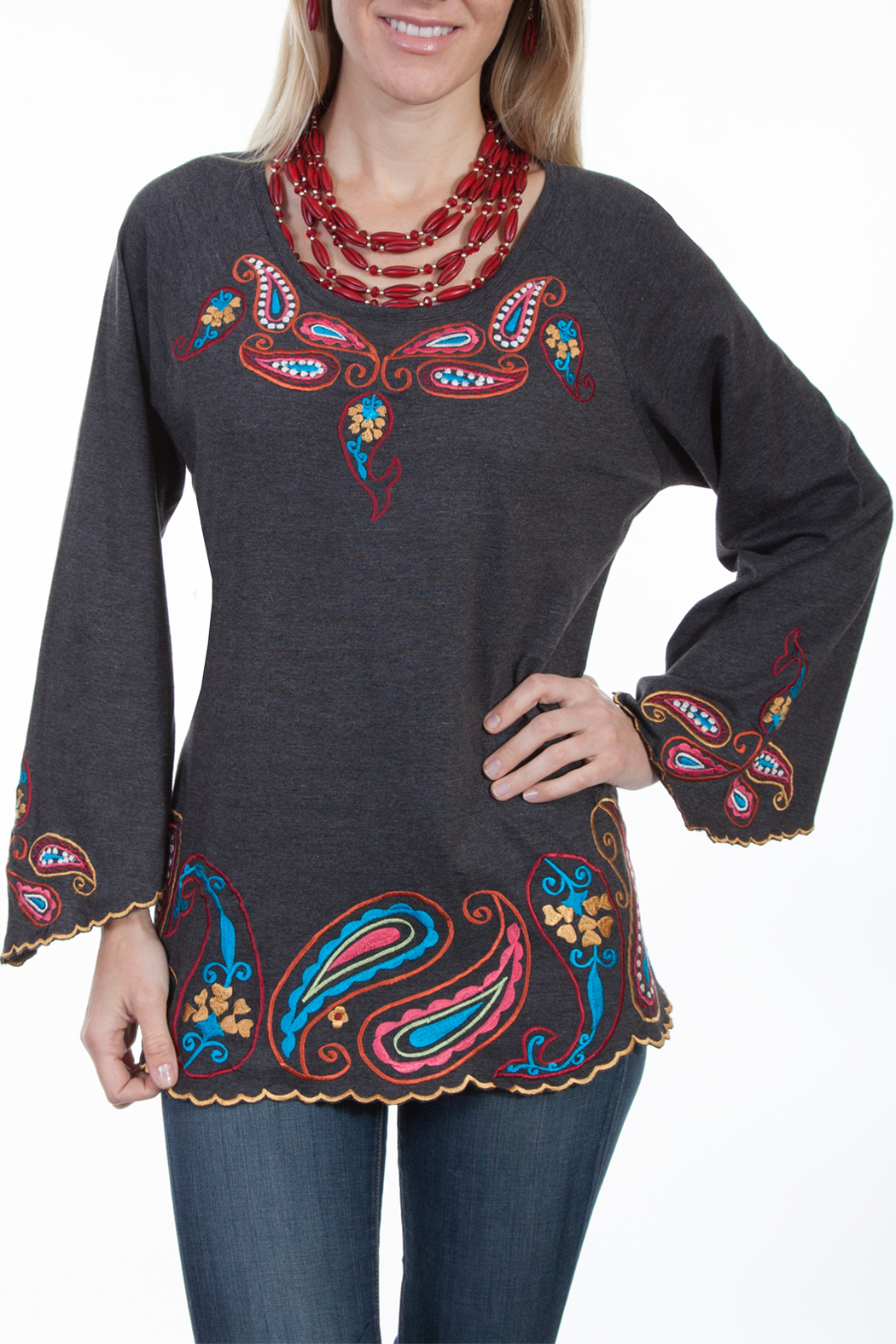 Scully Embroidered Knit Tunic - Main Image