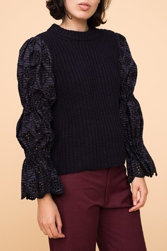 Shoptiques Product: Eyelet Sleeve Sweater
