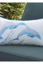 RIGHT SIDE DESIGN Sea Glass Tribal Dolphin Indoor/Outdoor Pillow - Product Mini Image