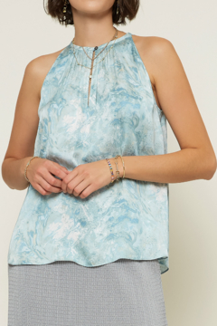 Current Air Sea Wave Print Keyhole Halter Top - Product List Image