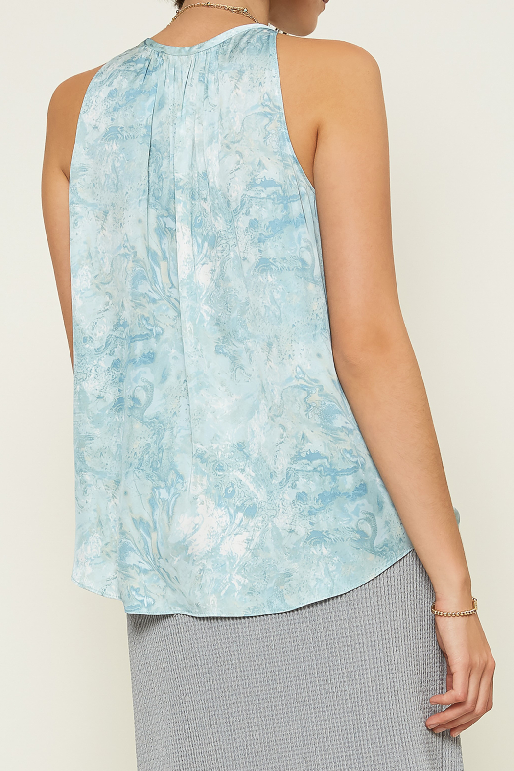 Current Air Sea Wave Print Keyhole Halter Top - Front Full Image