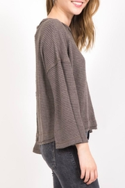 Very J Seamed Waffle Pullover - Front full body