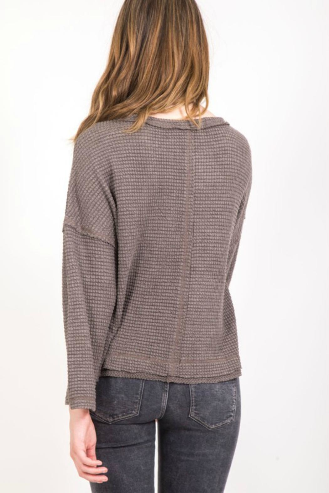 Very J Seamed Waffle Pullover - Side Cropped Image