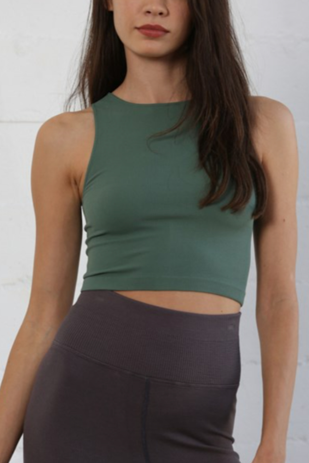 By Together  Seamless Ribbed Crew Tank - Front Cropped Image