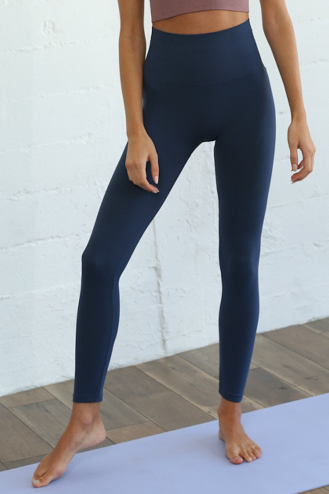 S1024 Seamless Ribbed Leggings - Front Cropped Image