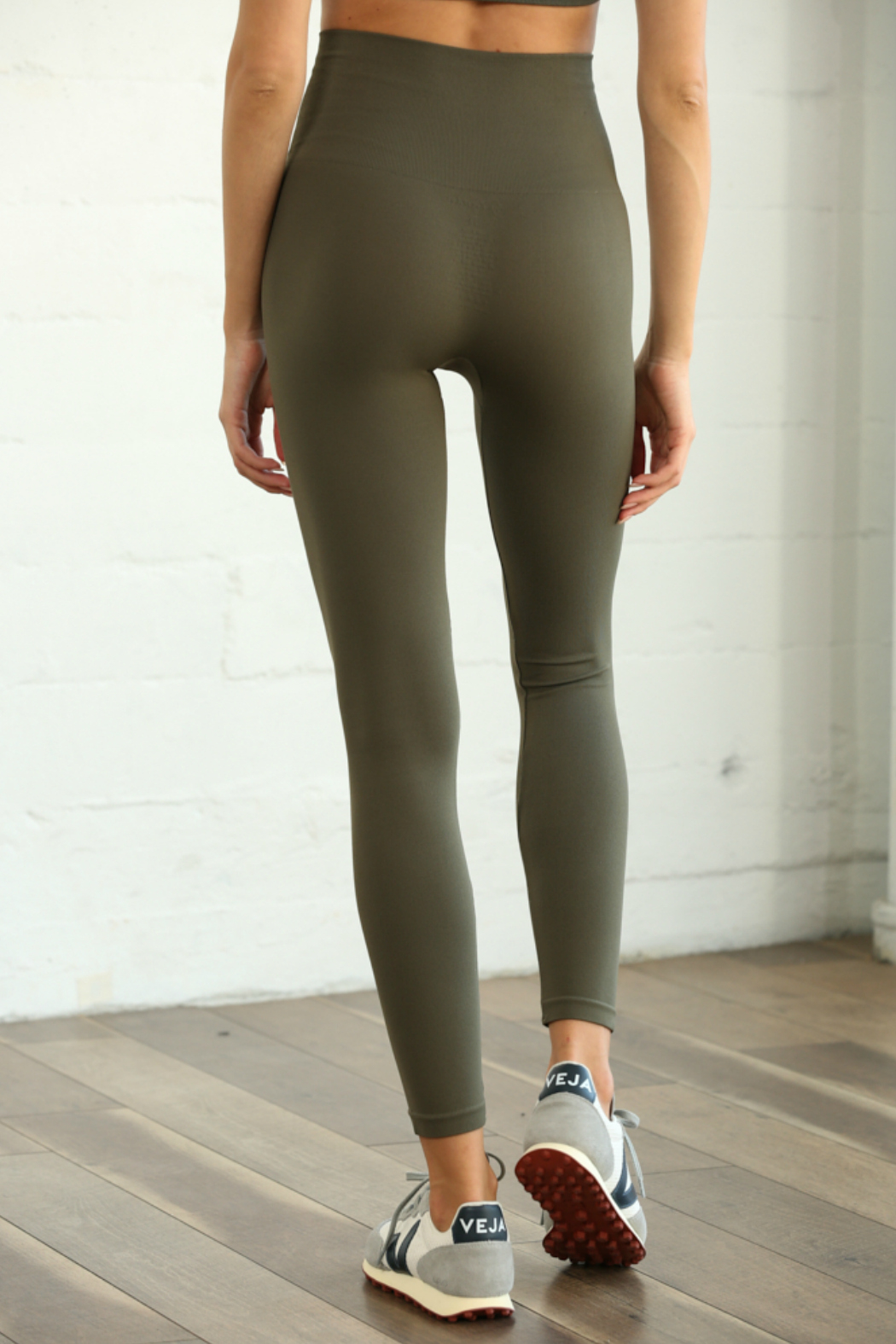 S1024 Seamless Ribbed Leggings - Front Full Image