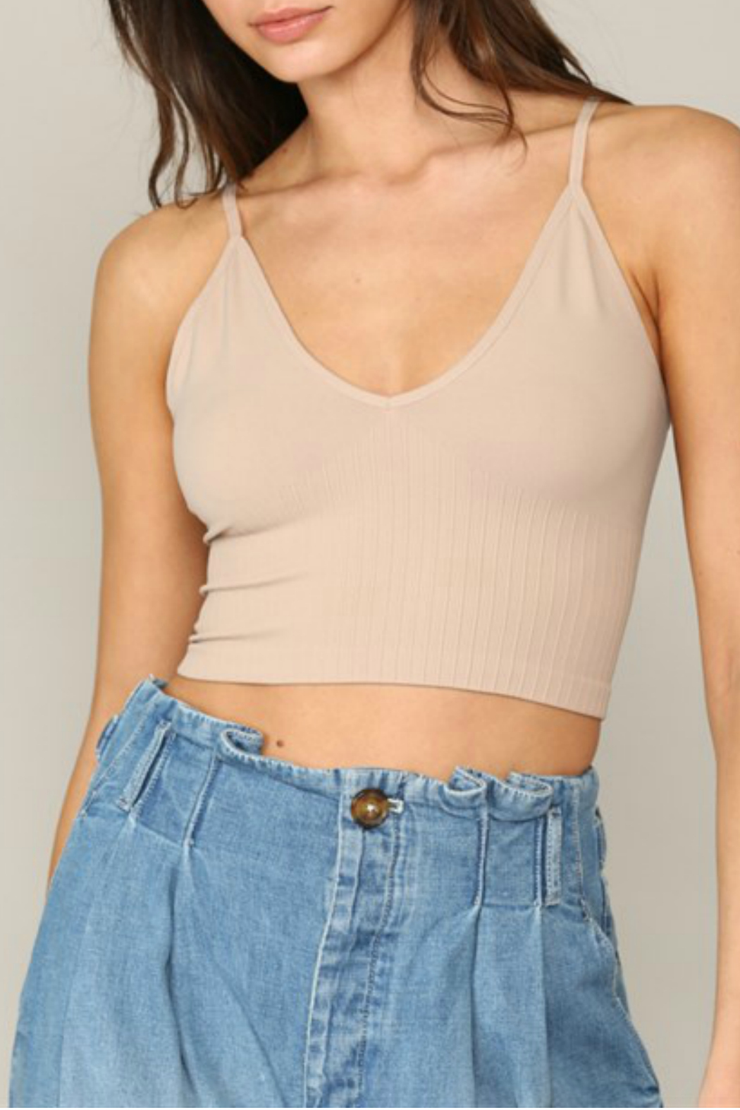 By Together  Seamless Ribbed V neck spaghetti brami with plunged back - Front Cropped Image