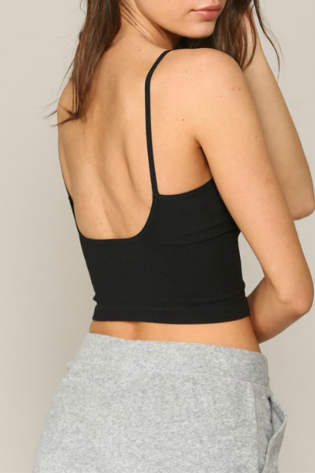 By Together  Seamless Ribbed V neck spaghetti brami with plunged back - Front Full Image