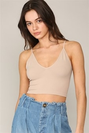 By Together  Seamless Ribbed V neck spaghetti brami with plunged back - Product Mini Image